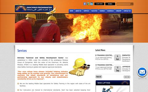 Screenshot of Services Page etsdc.com - Welcome to Emirates Technical & Safety Development Centre  [ETSDC] - captured Sept. 28, 2018
