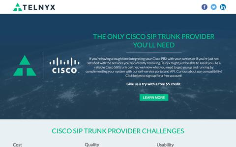 Screenshot of Landing Page telnyx.com - The Only Cisco SIP Trunk Provider You'll Need | Telnyx - captured March 27, 2018
