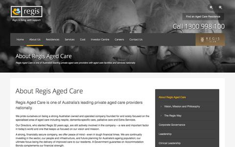 Screenshot of About Page regis.com.au - About Regis Aged Care - captured Feb. 21, 2016