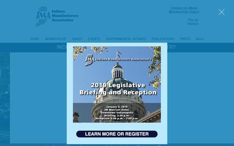 Screenshot of Home Page imaweb.com - Indiana Manufacturers Association | Indianapolis | Manufacturing - captured Dec. 19, 2018