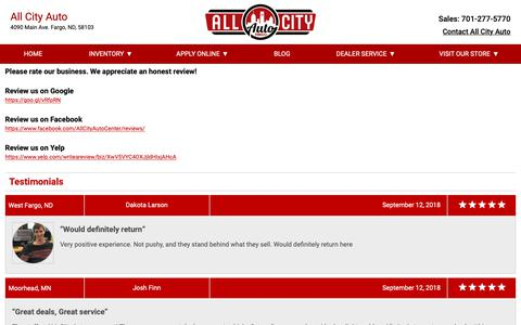 Screenshot of Testimonials Page allcityauto.com - Customer Reviews, Testimonials - All City Auto Center - captured Oct. 3, 2018