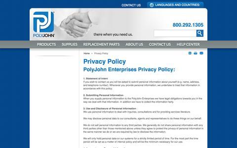 Screenshot of Privacy Page polyjohn.com - Privacy Policy  | PolyJohn - captured Sept. 23, 2014