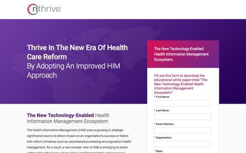 Screenshot of Landing Page nthrive.com - The New Era of Health Information Management - nThrive - captured Nov. 4, 2016