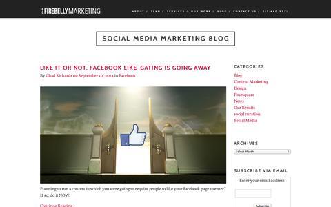 Screenshot of Blog firebellymarketing.com - Social Media Marketing Blog   Firebelly Marketing - captured Sept. 24, 2014
