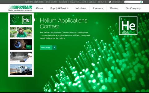 Screenshot of Home Page praxair.com - Industrial Gases, Supply, Equipment & Services | Praxair, Inc. - captured Jan. 4, 2016