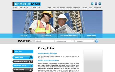 Screenshot of Privacy Page recruitman.com.au - Privacy Policy - captured Oct. 26, 2014
