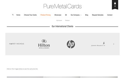 Screenshot of Pricing Page puremetalcards.com - Product Pricing | PURE METAL CARDS - captured Nov. 12, 2016