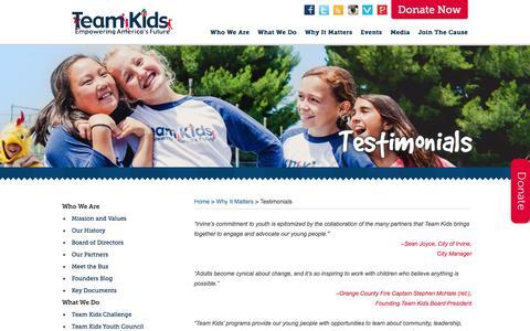 Screenshot of Testimonials Page teamkids.org - Testimonials | Team Kids - captured Dec. 21, 2016