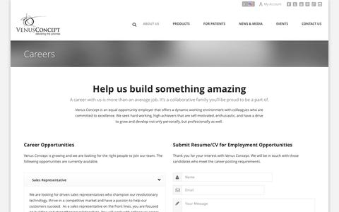 Screenshot of Jobs Page venusconcept.com - Careers - Venus Concept - captured Sept. 17, 2014
