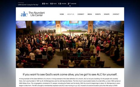 Screenshot of About Page alcchurch.org - The History of ALC | Abundant Life Cathedral - captured Oct. 4, 2014