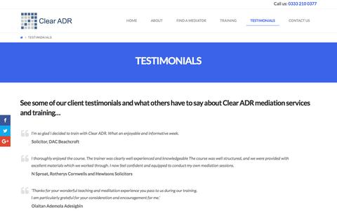 Screenshot of Testimonials Page clearadr.com - See what others have to say about Clear ADR - captured July 19, 2018