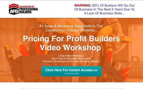 Screenshot of Landing Page acrisservices.com - Pricing For Profit Builders Video Workshop - captured April 6, 2017