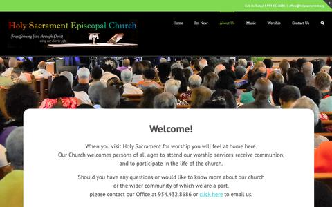 Screenshot of About Page holysacrament.org - About Us - Holy Sacrament Episcopal Church - captured Sept. 29, 2018