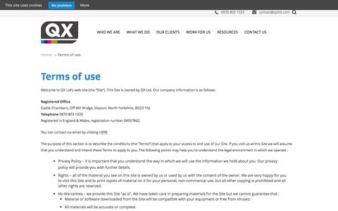 Screenshot of Terms Page qxltd.com - Terms of use - captured July 11, 2016
