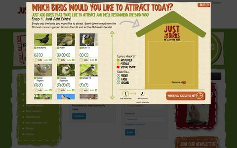 Screenshot of Login Page justaddbirds.co.uk - Account Login - captured Aug. 5, 2015