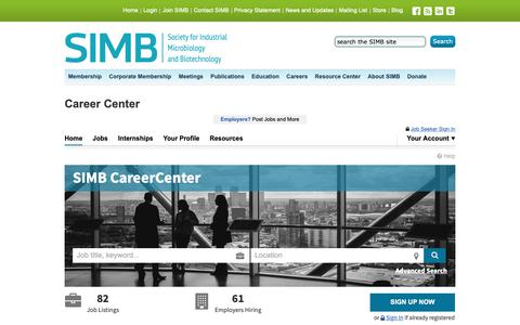 Screenshot of Jobs Page simbhq.org - Society for Industrial Microbiology and Biotechnology  (SIMB), SIMB CareerCenter|Find Your Career Here - captured Dec. 21, 2018