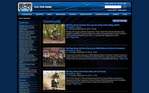 Screenshot of Blog belray.com - Community | Bel-Ray Company, Inc - captured Sept. 24, 2014