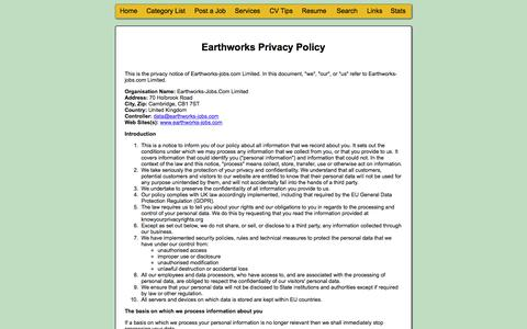 Screenshot of Privacy Page earthworks-jobs.com - Jobs in Oil, Energy, Geoscience, Geosciences, Geology, Mining, Geography, Environmental Sciences, Remote Sensing, GIS, Earth Sciences, Climate, Atmospheric Sciences, Meteorology, Hydrology, Hydrogeology, Water, Gas, Ecology, Conservation, Conservatio - captured Sept. 22, 2018
