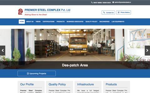Screenshot of Home Page premiersteels.in - Premier Steel Complex is specialized in the production of Mild Steel/ Carbon Steels, Free-Cutting Steels, Alloy Steels, Boron Steels...etc; - captured Jan. 23, 2016