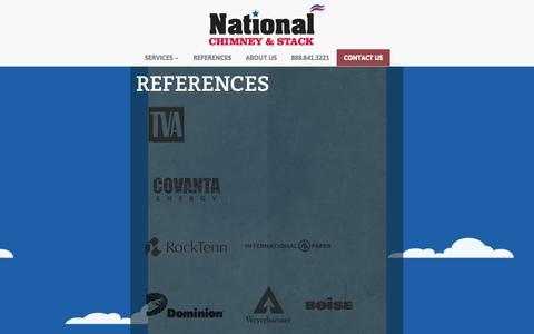 Screenshot of Case Studies Page nationalchimneystack.com - References | National Chimney & Stack - captured Oct. 27, 2014