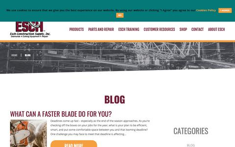 Screenshot of Blog eschsupply.com - Blog | Esch Construction Supply, Inc. - captured Sept. 29, 2018