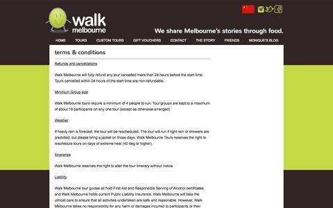 Screenshot of Terms Page walkmelbourne.com.au - Terms & Conditions - Walk Melbourne - captured Oct. 7, 2014