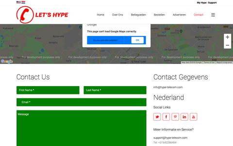 Screenshot of Contact Page hype-telecom.com - Hype Telecom |   Contact - captured Nov. 5, 2018