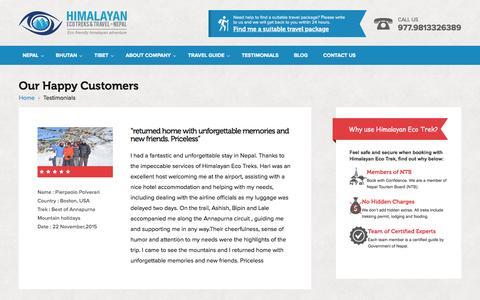 Screenshot of Testimonials Page himalayanecotrek.com - Testimonials   Himalayan Eco Trek - captured Jan. 30, 2016