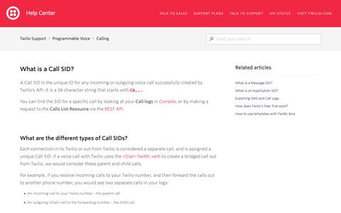 Screenshot of Support Page twilio.com - What is a Call SID? – Twilio Support - captured June 13, 2019