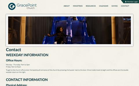 Screenshot of Contact Page gracepointcoppell.org - GracePoint Coppell: Contact - captured Oct. 6, 2014