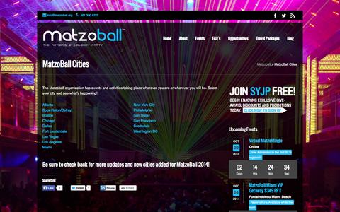Screenshot of Locations Page matzoball.org - MatzoBall Cities | Matzoball - captured Oct. 27, 2014