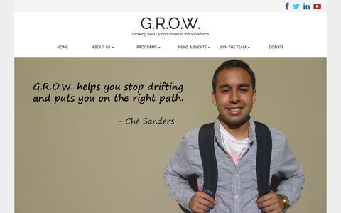 Screenshot of Testimonials Page growmyfuture.org - Testimonials | G.R.O.W. - captured Nov. 1, 2014