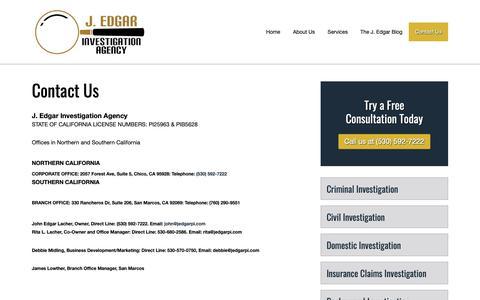 Screenshot of Contact Page jedgarpi.com - Contact Us - J. Edgar Investigation Agency - captured Oct. 1, 2018