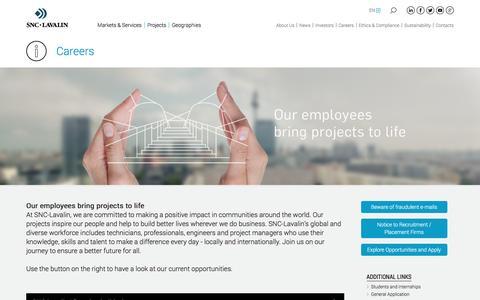 Screenshot of Jobs Page snclavalin.com - SNC-Lavalin - captured Aug. 18, 2016