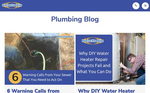 Screenshot of Blog duncanplumbing.us - Plumbing Blog   Duncan Plumbing - captured Oct. 13, 2017