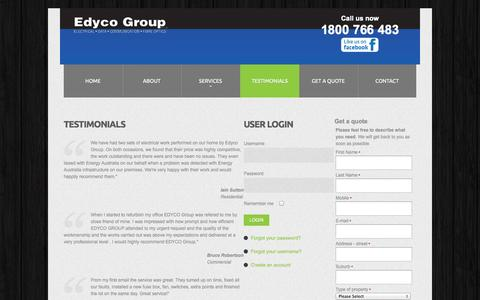 Screenshot of Testimonials Page edycogroup.com.au - Edyco Group - Testimonials - captured Oct. 2, 2014