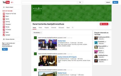 Screenshot of YouTube Page youtube.com - Kanal korisnika AzelijaDrveneKuce  - YouTube - captured Oct. 23, 2014
