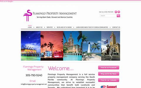 Screenshot of Home Page flamingopropertymanagement.net - Flamingo Property Management - Flamingo Property Management is a full service Property Management company serving the South Florida Market. - captured May 10, 2017
