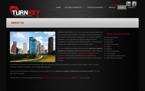 Screenshot of About Page turnkey-industries.com - Houston Electrical Supply and Equipment Company | Turnkey Industries - captured Oct. 9, 2014