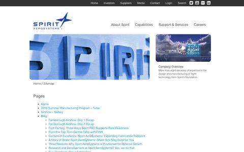 Screenshot of Site Map Page spiritaero.com - Sitemap - Spirit AeroSystems - captured July 18, 2018