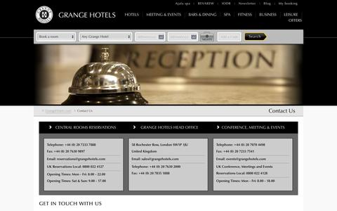 Grange Hotels London | Hotels in London Contact Details