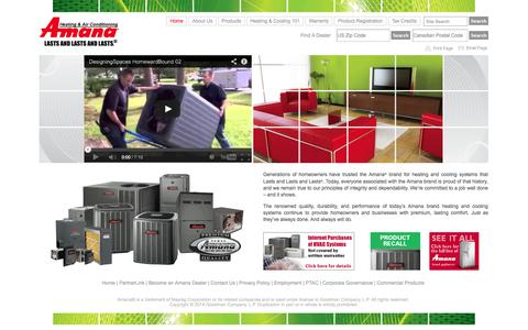 Screenshot of Home Page amana-hac.com - Amana® Brand Residential Heating and Air Conditioning Systems - captured Sept. 19, 2014