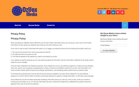 Screenshot of Privacy Page ozvoxmedia.com - Privacy Policy - captured Oct. 9, 2014