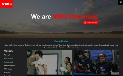 Screenshot of Case Studies Page vmgcinematic.com - Work - VMG - captured Jan. 11, 2016
