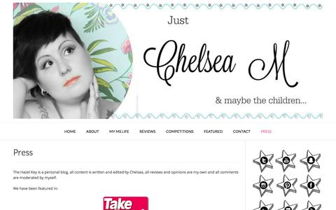 Screenshot of Press Page justchelseam.com - Press - Just Chelsea M - captured Dec. 1, 2016