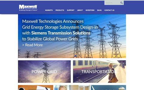 Screenshot of Home Page maxwell.com - Maxwell Technologies Ultracapacitors and Supercapacitors - captured March 9, 2019