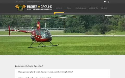 Screenshot of FAQ Page hghelicopters.com - Questions about helicopter flight school? - Higher Ground Helicopters FAA Approved Helicopter Flight Training in the Mid-West - captured Aug. 12, 2017