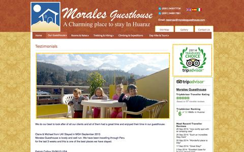 Screenshot of Testimonials Page moralesguesthouse.com - Testimonials - captured Oct. 7, 2014