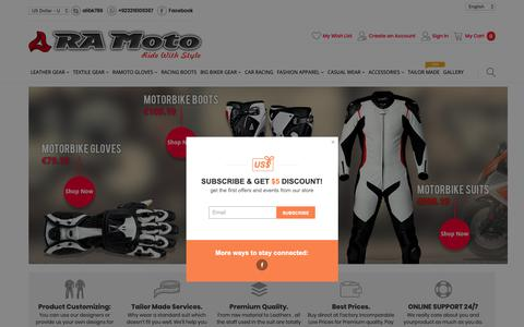 Screenshot of Menu Page ra-moto.com - RA-MOTO International - Manufacturer & Exporter of Quality Motorcycle Clothing, Sportswear and protective gear - captured Oct. 21, 2018