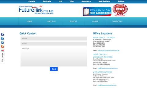 Screenshot of Contact Page Terms Page futurelinkconsultants.com - contact us- canada immigration visa consultants in vadodara,bharuch,v.v.nagar - captured Oct. 23, 2014